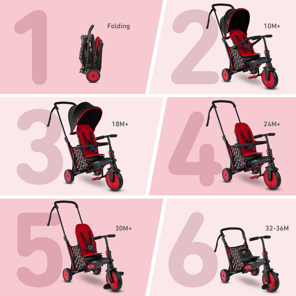 SMARTRIKE STR3 PLUS. 6 IN 1 FOLDING TRIKE - RED