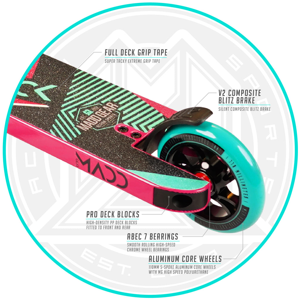 MADD GEAR KICK EXTREME SCOOTER TEAL / PINK