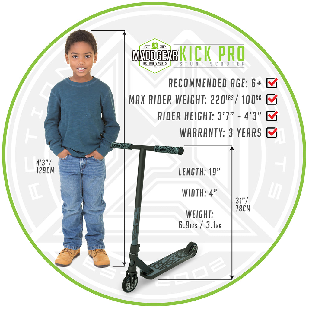 MADD GEAR KICK PRO SCOOTER BLACK / SILVER SIZING