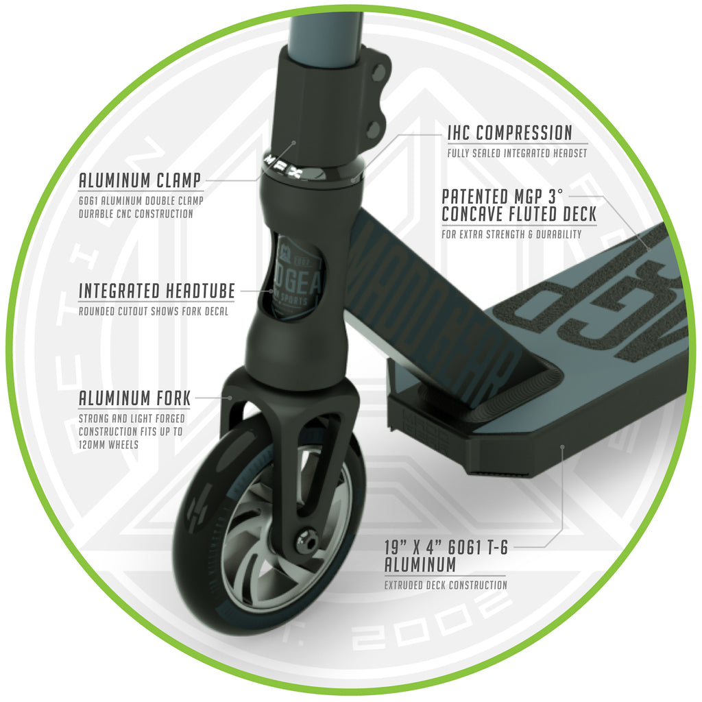 MADD GEAR KICK PRO SCOOTER BLACK / SILVER FRONT