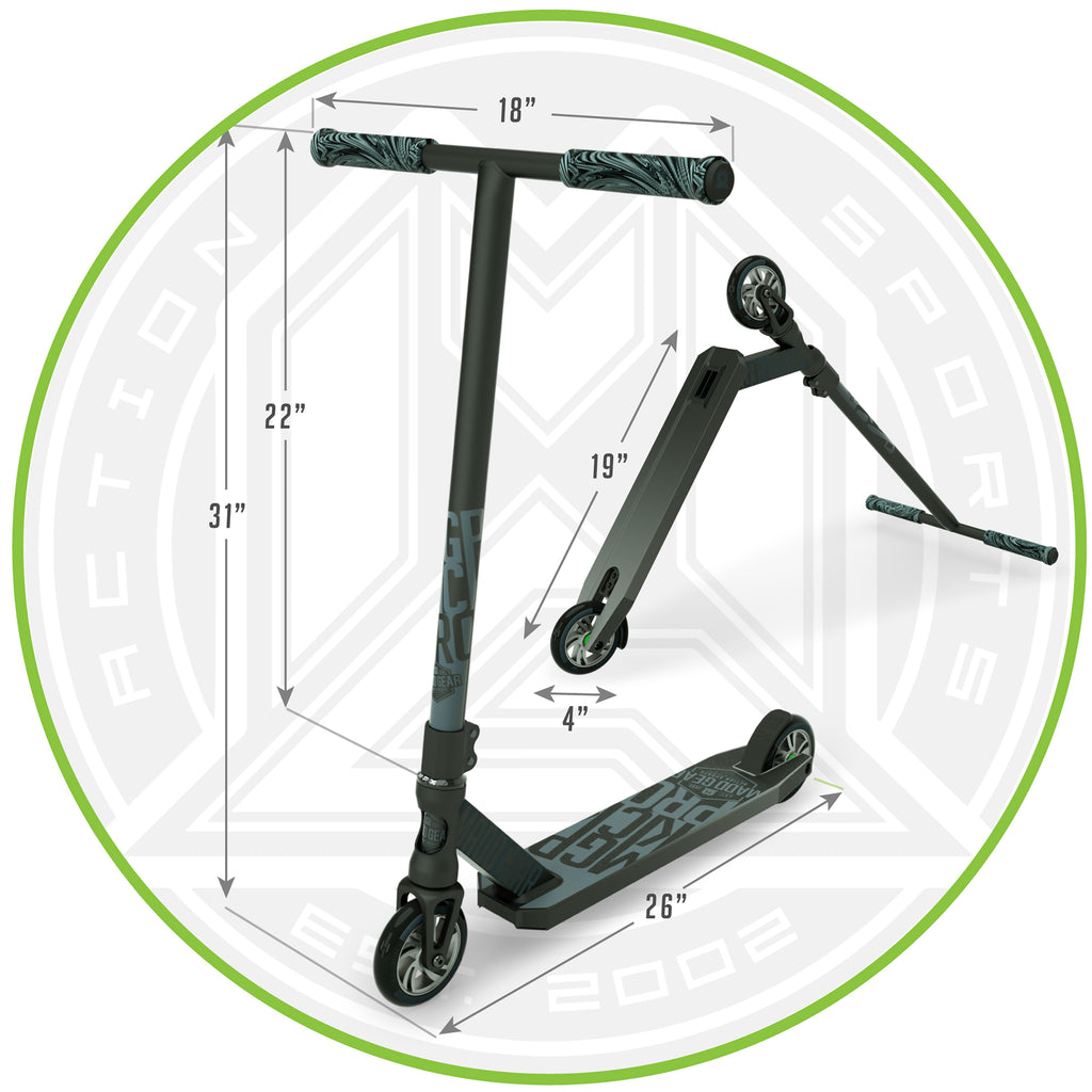 MADD GEAR KICK PRO SCOOTER BLACK / SILVER DIMENSIONS