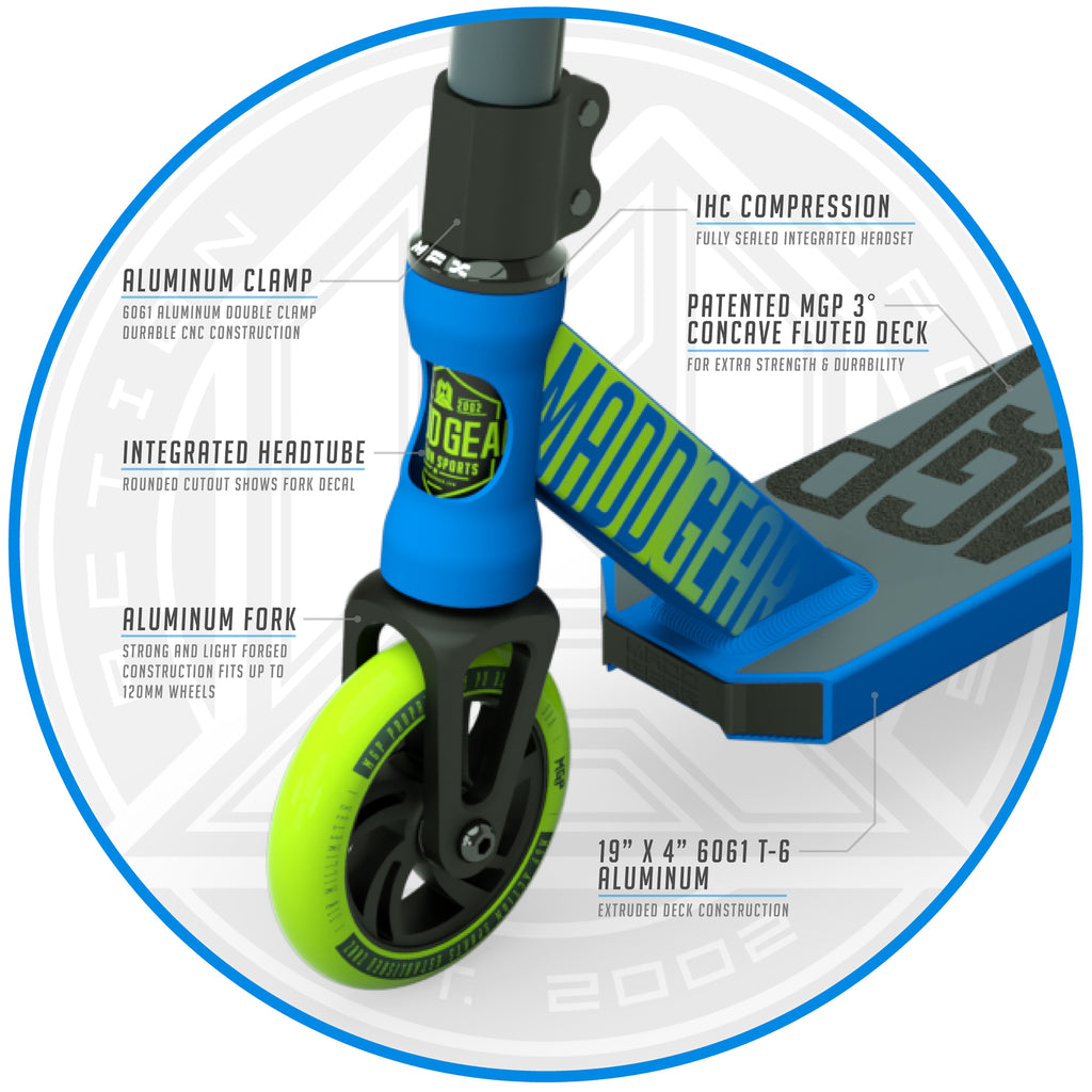 MADD GEAR KICK PRO SCOOTER BLUE / GREEN FRONT