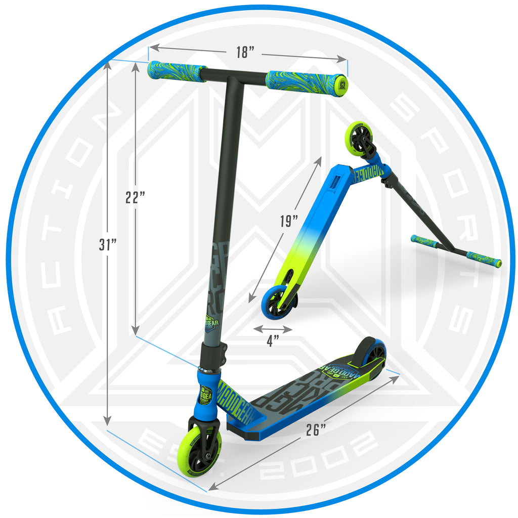 MADD GEAR KICK PRO SCOOTER BLUE / GREEN DIMENSIONS
