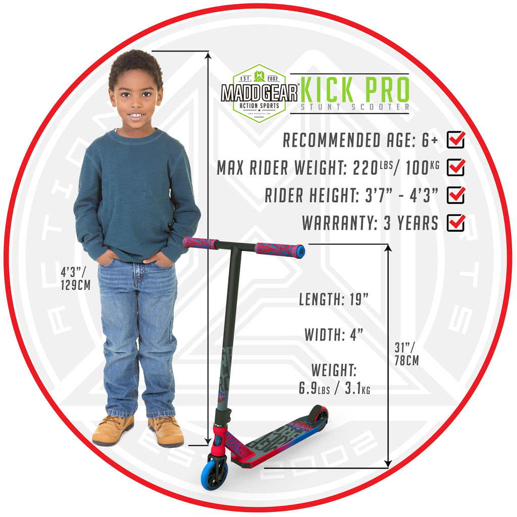 MADD GEAR KICK PRO SCOOTER RED / BLUE SIZING