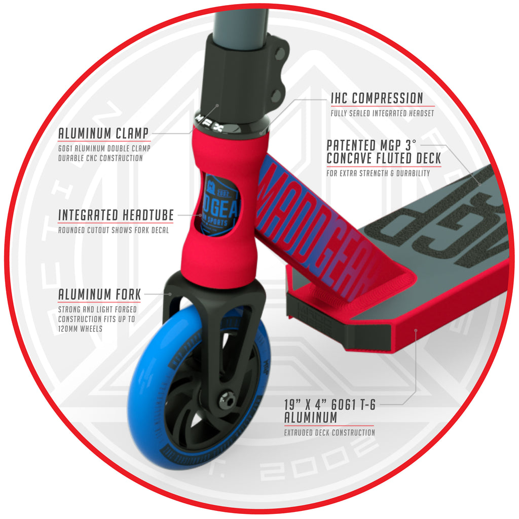 MADD GEAR KICK PRO SCOOTER RED / BLUE FRONT