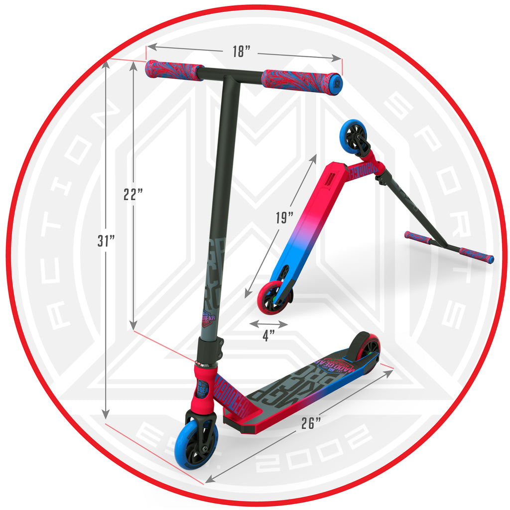 MADD GEAR KICK PRO SCOOTER RED / BLUE DIMENSIONS