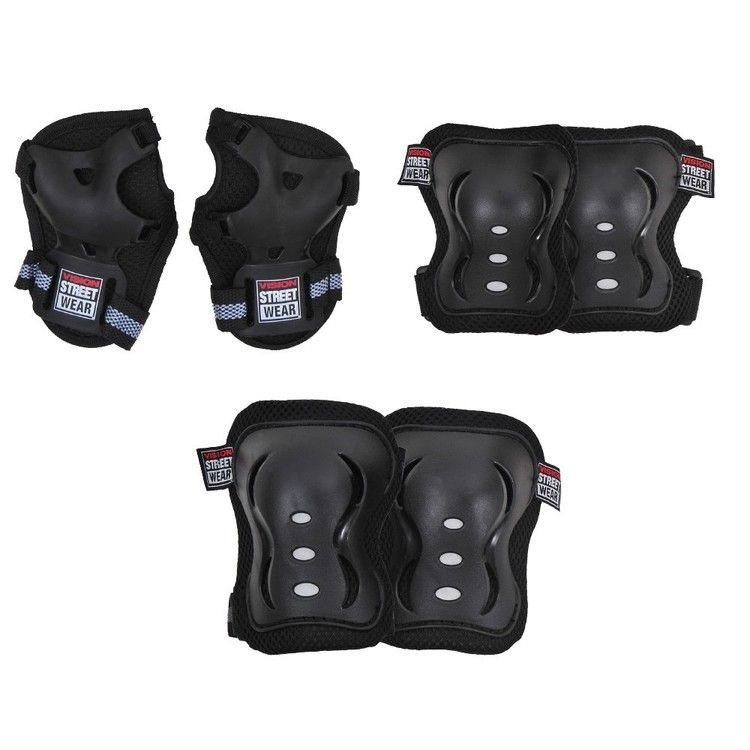 VISION PAD SET KNEE, ELBOW & WRIST MEDIUM BLACK