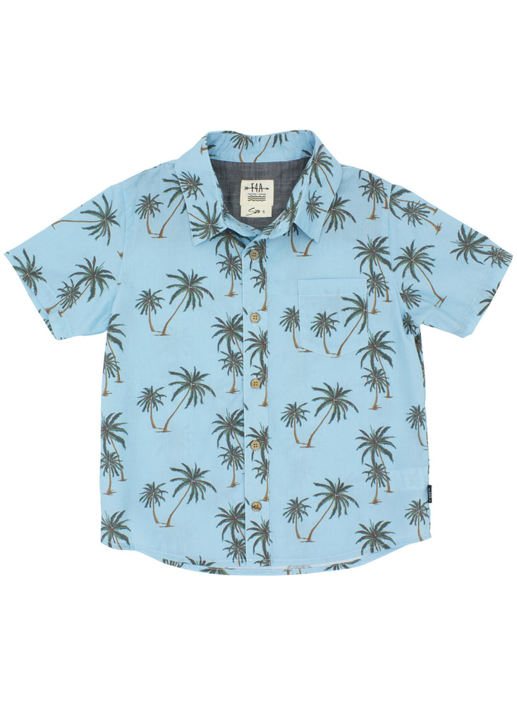 WAVY PALM BUTTON DOWN WOVEN