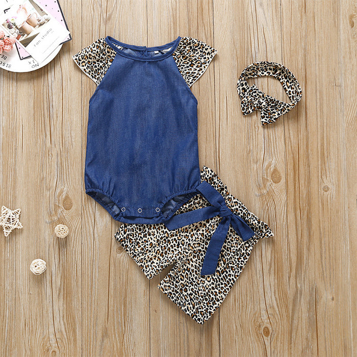Girls Summer Leopard-Print 3 Piece Set