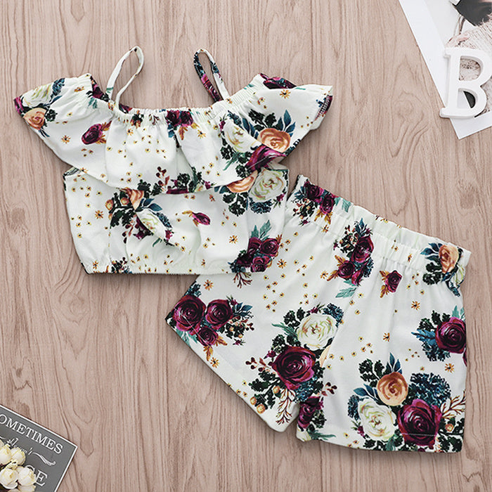 Girls Rose Floral 2 Piece Summer Set