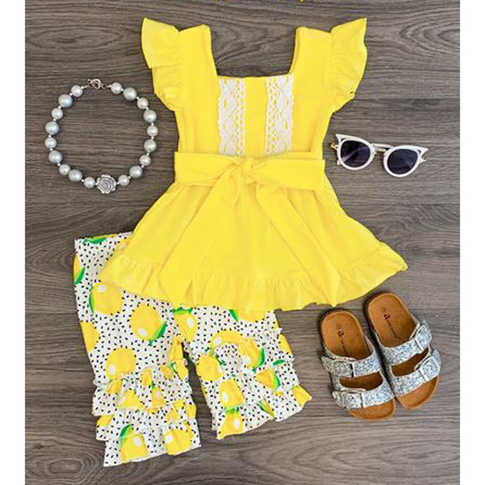 Girls Summer Clothes Set  Short Sleeve Doll Skirt Top Lemon Printed Shorts