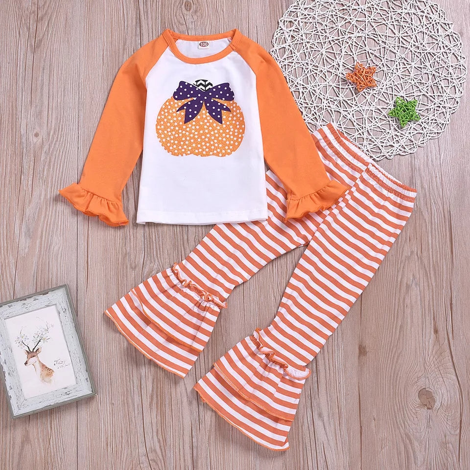 Girls Pumpkin Set Pumpkin Print