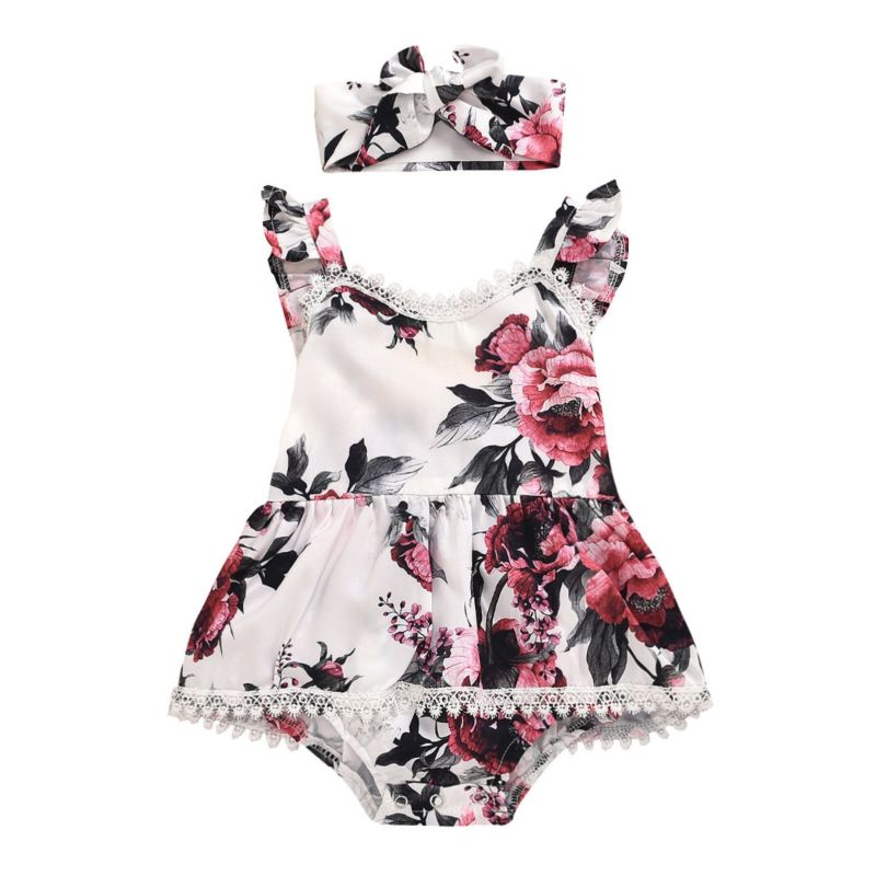 Adorable 2-Piece Infant Girl Flower Lace Romper Dress and Headband