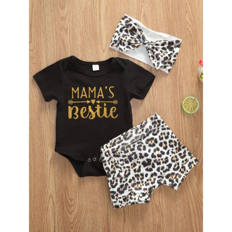 3-Piece MAMA'S BESTIE Bodysuit & Leopard Shorts & Headband Set