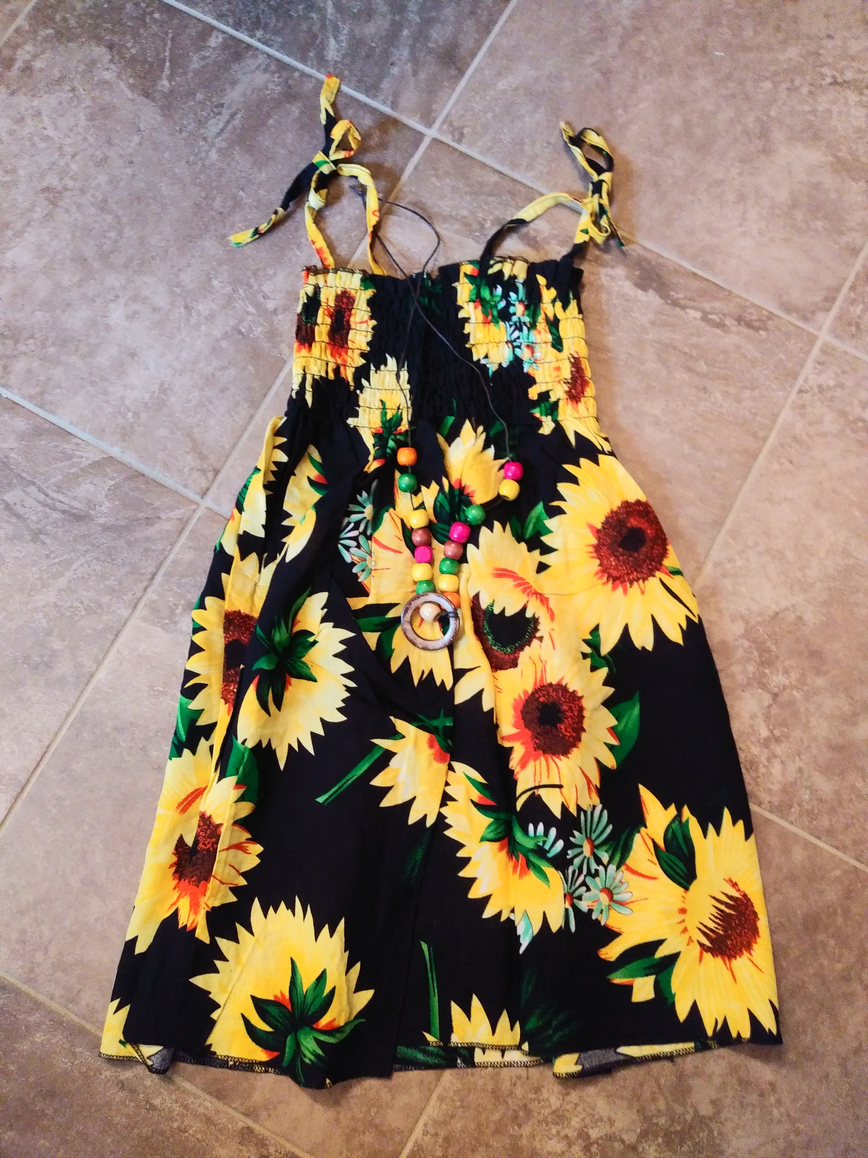 Girls Cute Sunflower Dress With Necklace