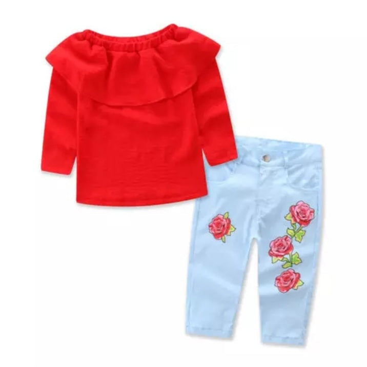 Cute Denim Rose Set For Girls