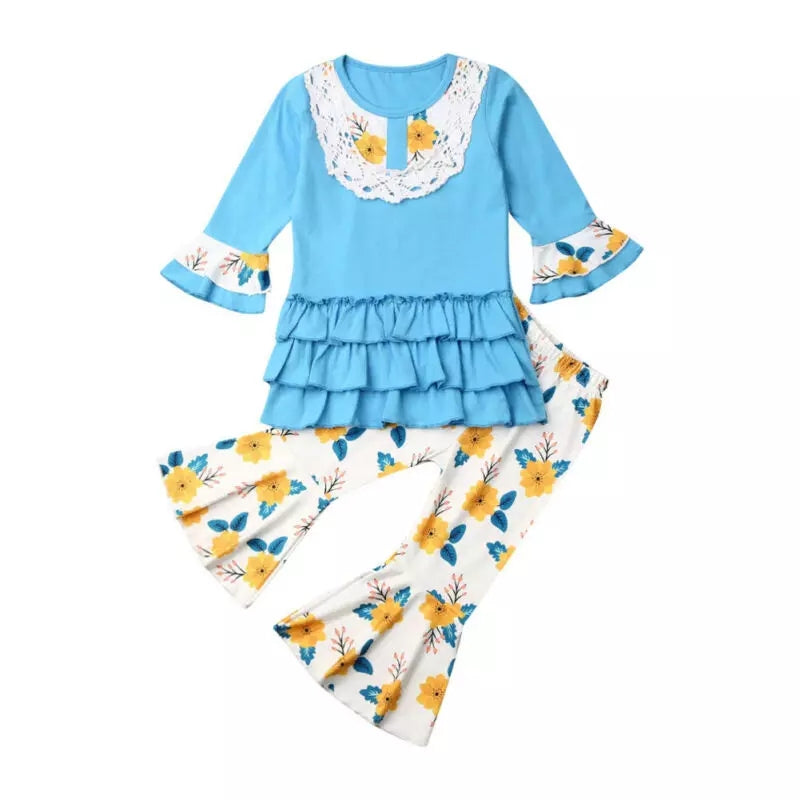 Turquoise Girl's Fall 2 Piece  Outfit Set