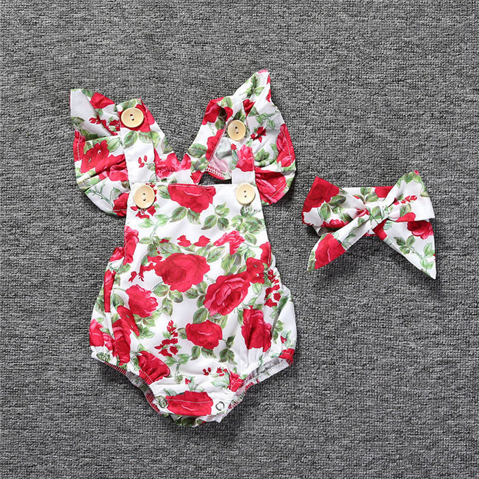 Infant Girls Outfit Set Floral Romper 2 Peice