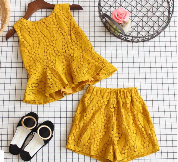 Cute Girls 2 Piece Yellow/Gold Summer Outfit