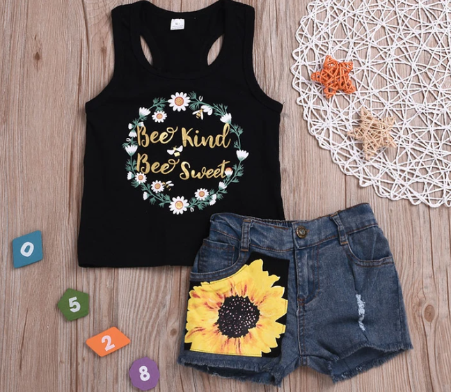 Girls 2-piece Sunflower and Bee Outfit Set