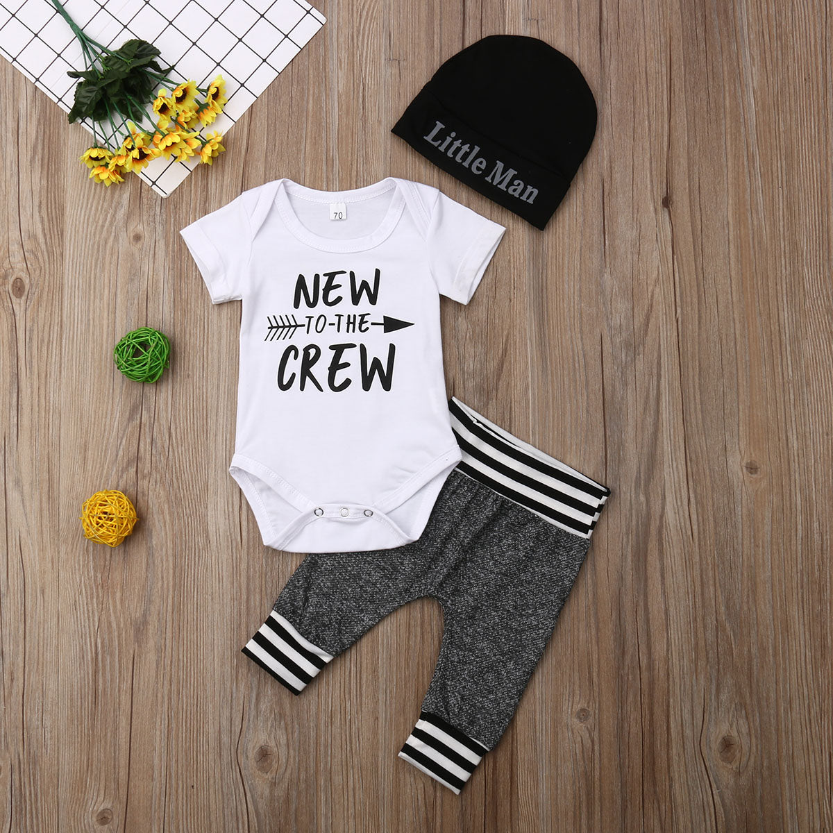Infant Boy New To The Crew 3 Piece Outfit Set