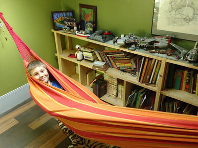 Brazilian Double Hammock in Orange and Red