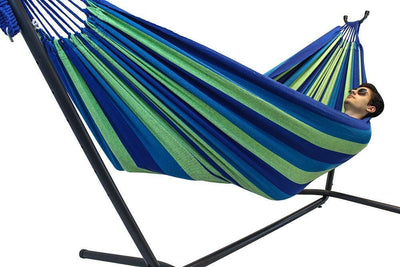 Hammock Universe Hammocks with Stands blue-and-green-stripes Brazilian Double Hammock with Universal Stand