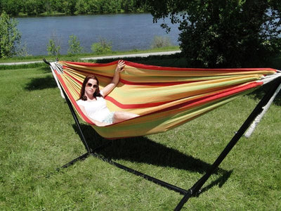 Brazilian Double Hammock with Universal Hammock Stand in Red Orange