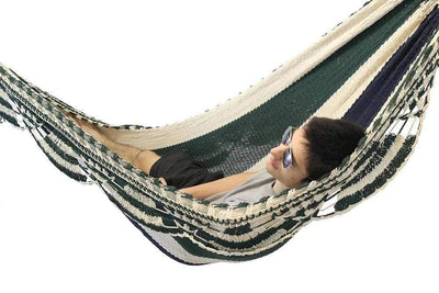 Hammock Universe Hammocks with Stands blue-white-and-green-stripes Nicaraguan Hammock with Eco-Friendly Bamboo Stand