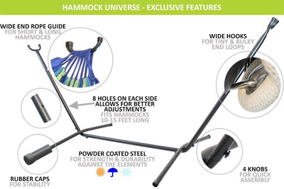 Hammock Universe Hammocks with Stands XL Thick Cord Mayan Hammock with Universal Stand