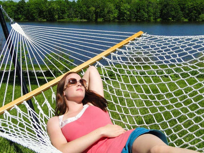 Hammock Universe Hammocks with Stands Natural Cotton Rope Hammock with 3-Beam Stand