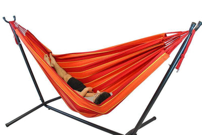Hammock Universe Hammocks with Stands red-orange-and-yellow-stripes Brazilian Double Hammock with Universal Stand