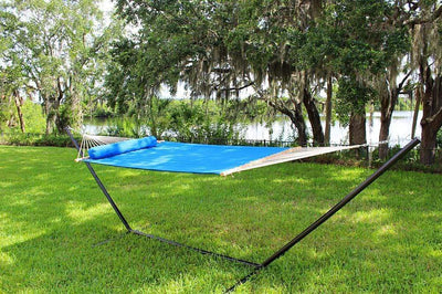 Hammock Universe Hammocks light-blue / IN STOCK SOON - SHIPS BY DEC. 9TH Olefin Double Quilted Hammock with Matching Pillow and Eco-Friendly Bamboo Stand