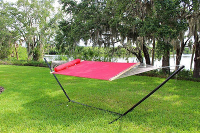 Hammock Universe Hammocks red / IN STOCK SOON - SHIPS BY DEC. 9TH Olefin Double Quilted Hammock with Matching Pillow with 3-Beam Stand