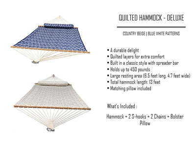 Hammock Universe Hammocks with Stands country-beige Deluxe Quilted Hammock with 3-Beam Stand