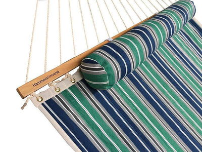 Hammock Universe Hammocks with Stands green-blue-grey-white-stripes Deluxe Quilted Hammock with Bamboo Stand