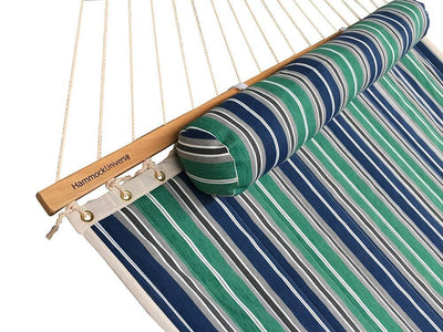 Hammock Universe Hammocks with Stands green-blue-grey-white-stripes Deluxe Quilted Hammock with Wicker Stand