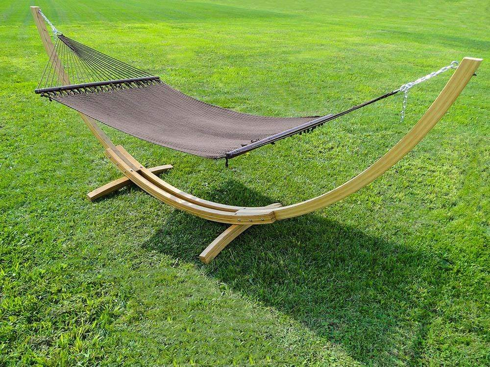 Hammock Universe Hammocks with Stands Coffee Deluxe Polyester Rope Hammock with Bamboo Stand
