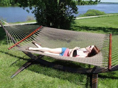 Hammock Universe Hammocks with Stands Coffee Deluxe Polyester Rope Hammock with Wicker Stand