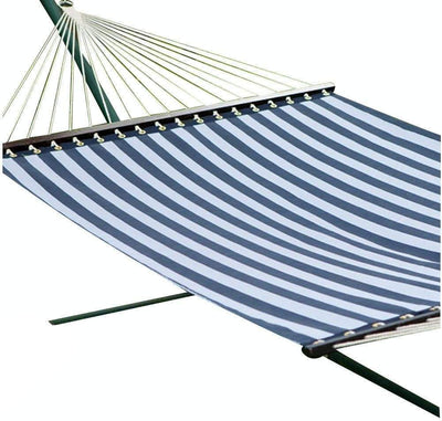 Hammock Universe Hammocks with Stands blue-and-white-stripes Poolside | Lake Hammock with Bamboo Stand