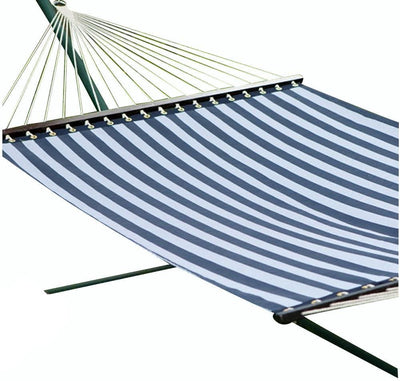 Hammock Universe Hammocks with Stands blue-and-white-stripes Poolside | Lake Hammock with 3-Beam Stand