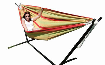 Hammock Universe Hammocks with Stands yellow-green-and-red-stripes Brazilian Double Hammock with Universal Stand