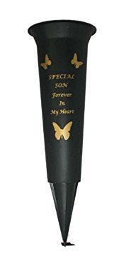 Special Son Verse Graveside Memorial Grave Spiked Flower Vase by David Fischhoff