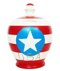 Terramundi Money Pot - Red /White stripes with White Star in Blue Circle with USA in Gold S217 by Terramundi