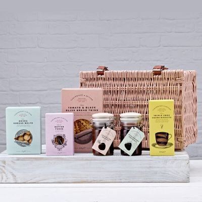 Cartwright and Butler Luxury Food Ripon Hamper - Including Gift Basket and English Sweet and Savory Treats. Mother's day, Easter, Birthday Gift Idea