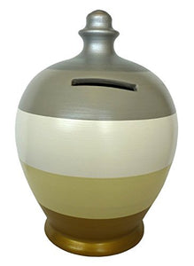 Terramundi Money Pot - White With Grey, Gold, Beige And Silver Stripes A67 by Terramundi
