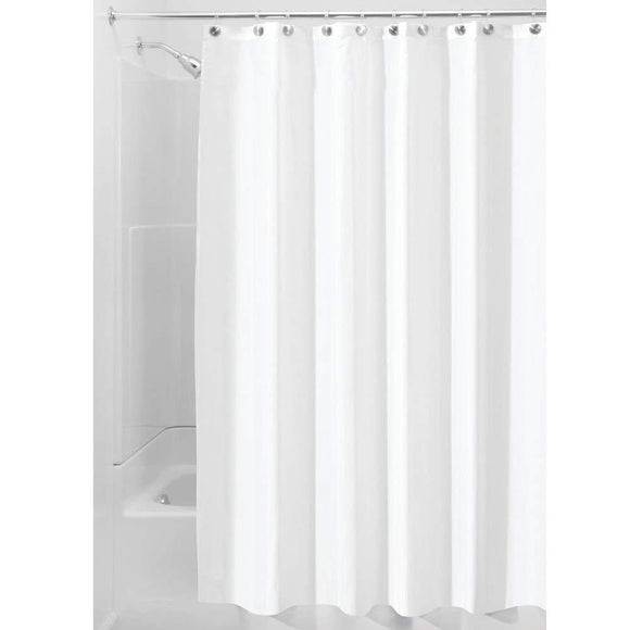 Waterproof Mold and Mildew-Resistant Fabric Shower Curtain, 72-Inch by 72-Inch, White