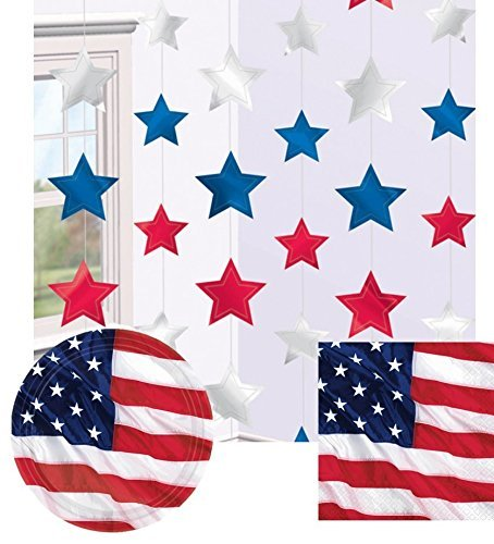 USA Flying Colors Party Pack, 4th July, Stars Stripes Tableware 16 x Plates 16 X Napkins and String Decorations