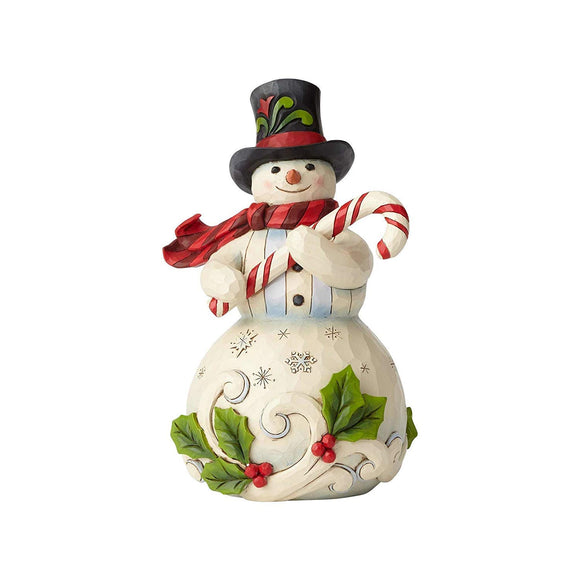 Enesco 6001477 Snowman Holding Candy Cane Figurine, Multicolor