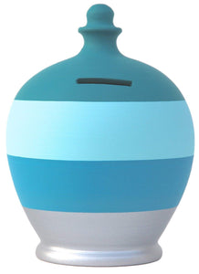 Terramundi Money Pot - Marine Blue,Pale Blue,Royal Blue Silver Stripe A64 by Terramundi Pots